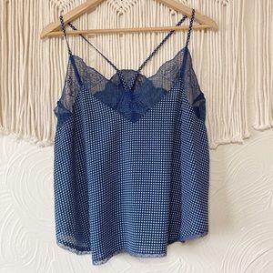 Storia Blue Dotted Lace Hem Camisole size Medium